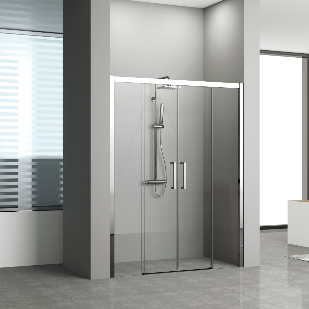 Shower enclosures kuadra 2a novellini for Novellini shower doors