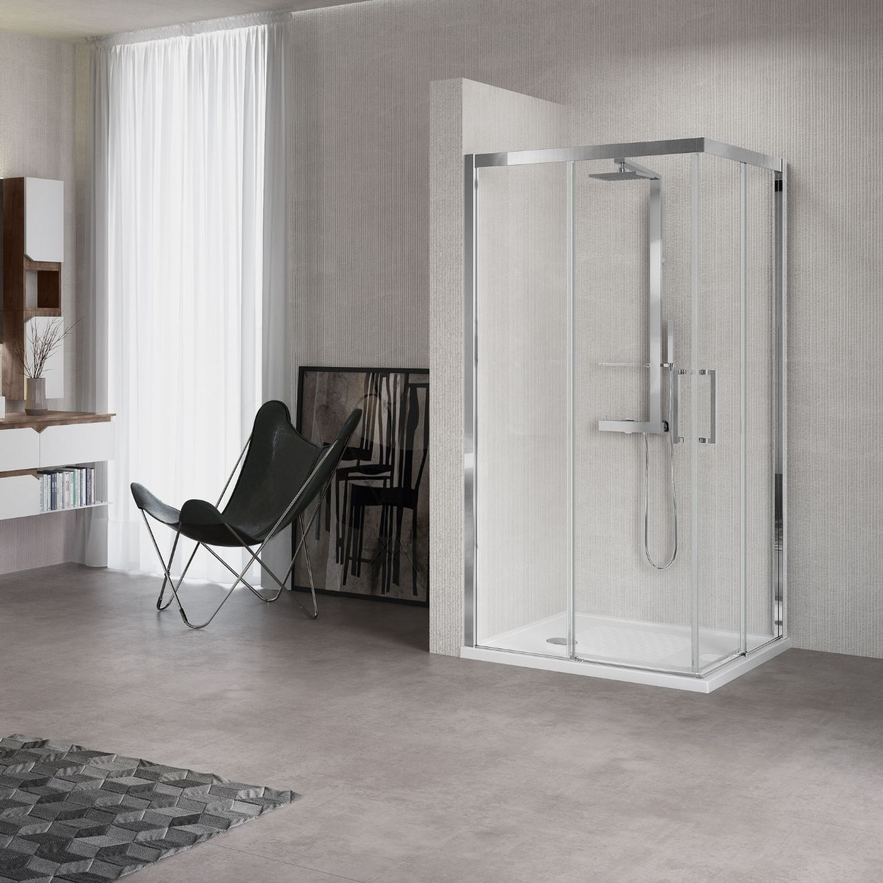 Shower enclosures kuadra a novellini for Novellini shower doors