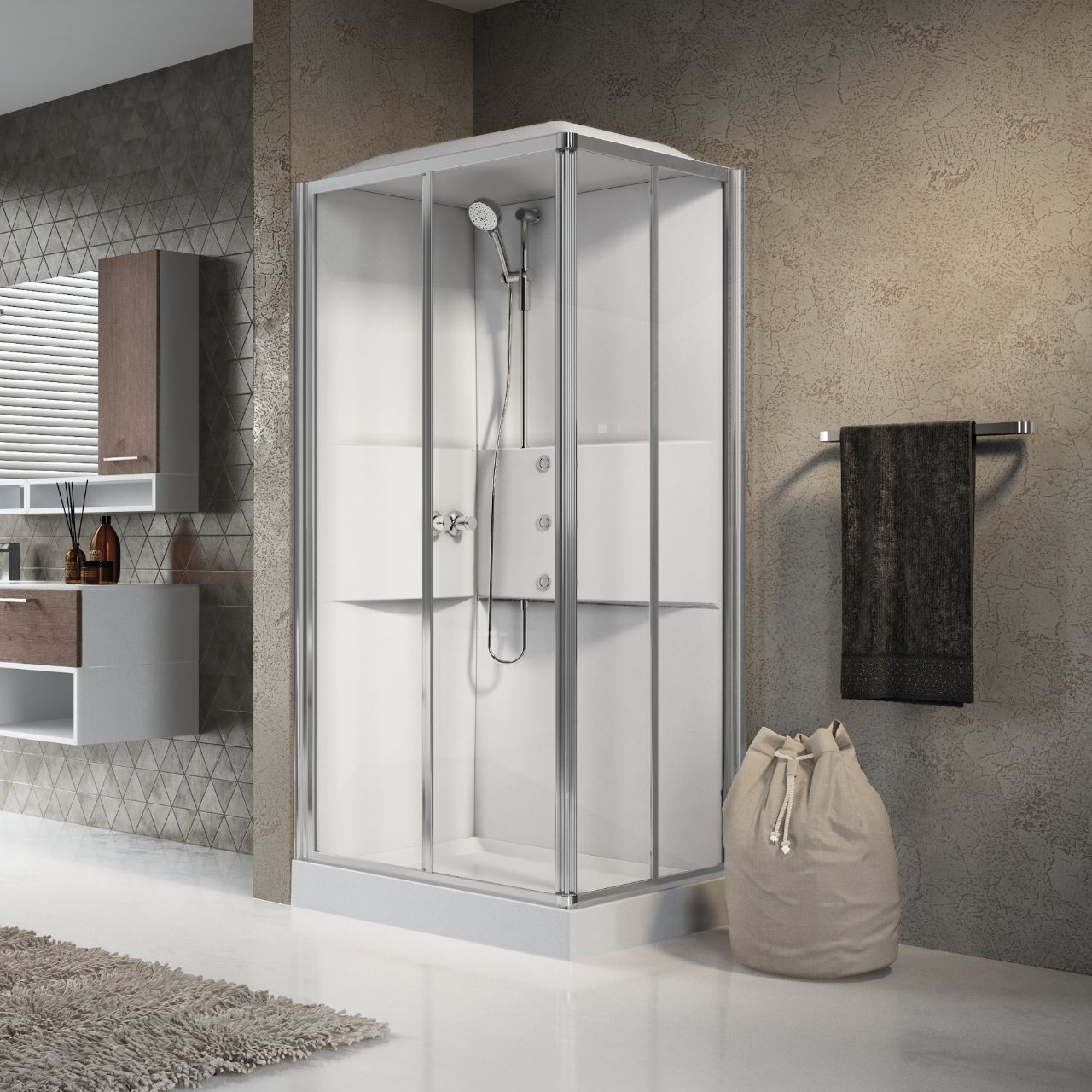 Cabine doccia media 2 0 a100x80 novellini - Cabine doccia multifunzione novellini ...